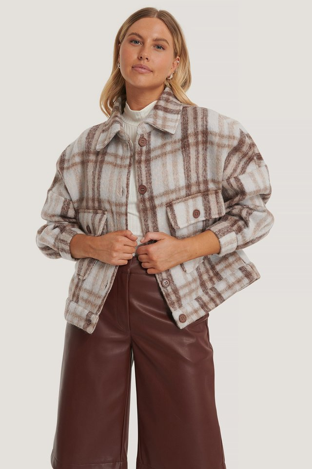 Checked Checked Wool Blend Jacket