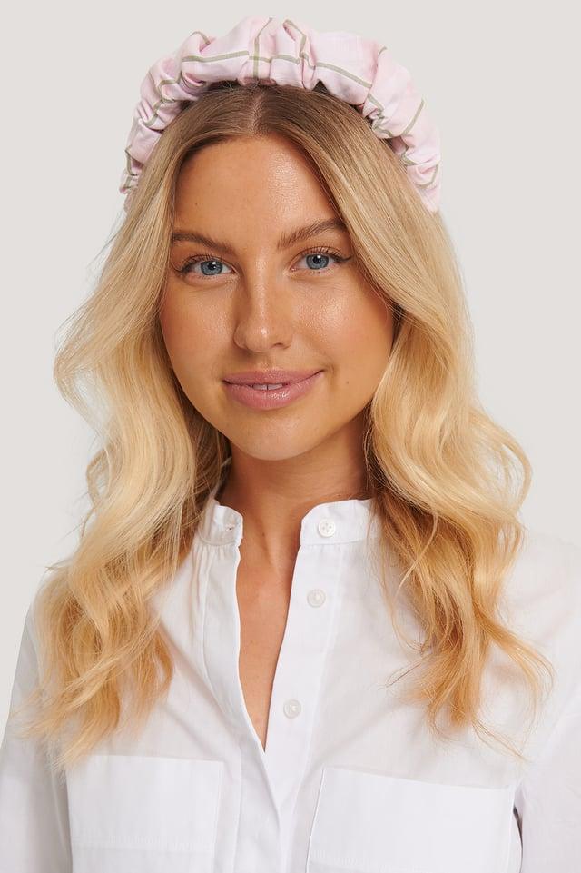 Pink Checkered Ruffled Hair Hoop