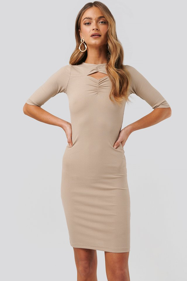 Chest Detail Dress Beige