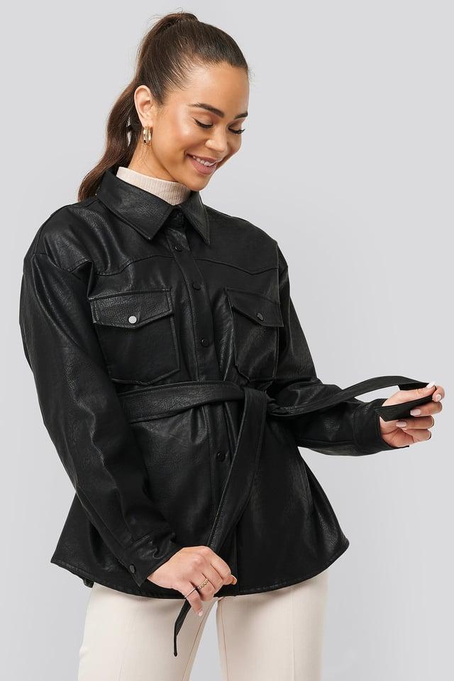 Black Chest Pocket Belted PU Jacket