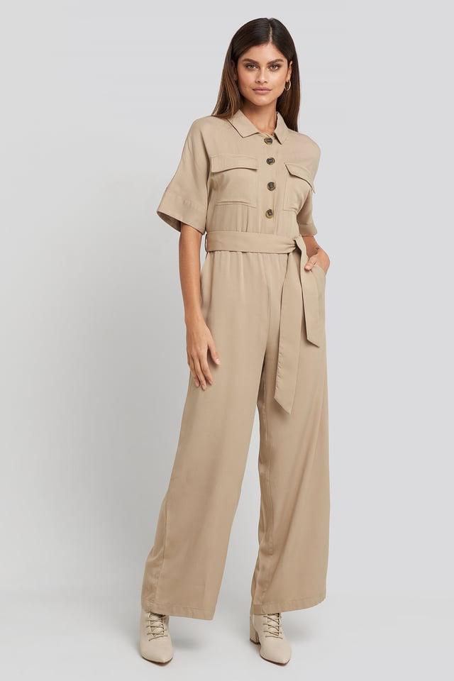 Beige Chest Pocket Buttoned Jumpsuit