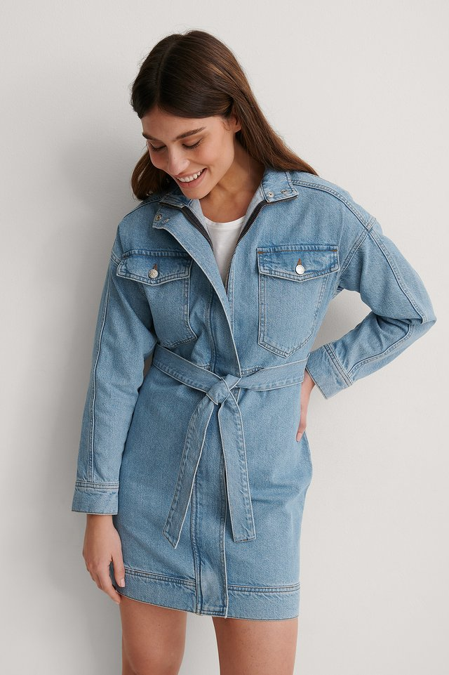 Blue Organic Chest Pocket Denim Dress