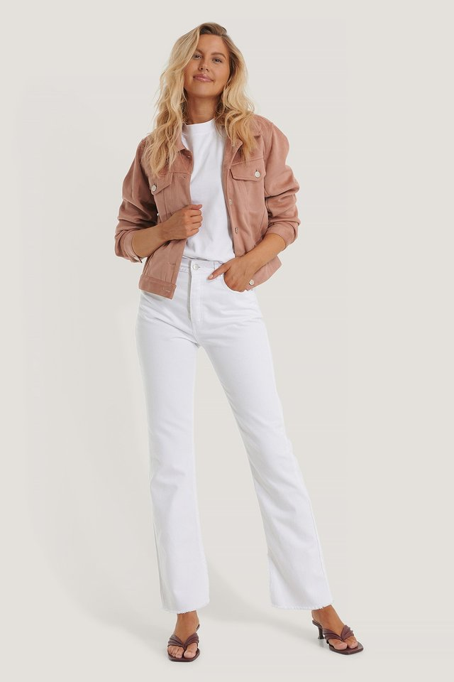Dusty Pink Chest Pocket Fake Suede Jacket