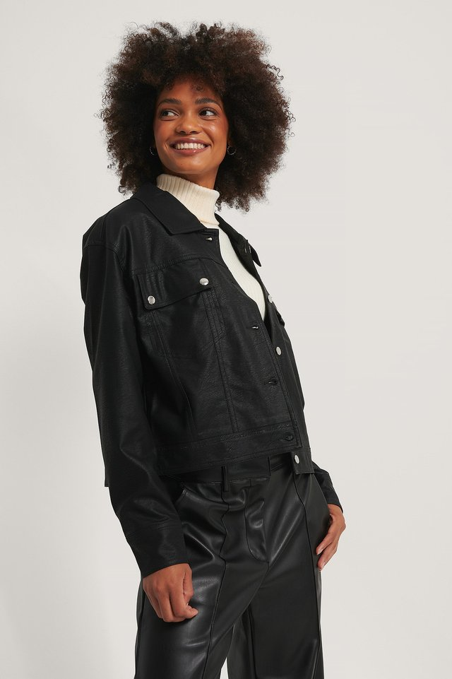 Black Chest Pocket PU jacket