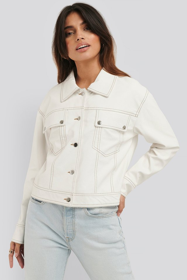Chest Pocket PU jacket Offwhite