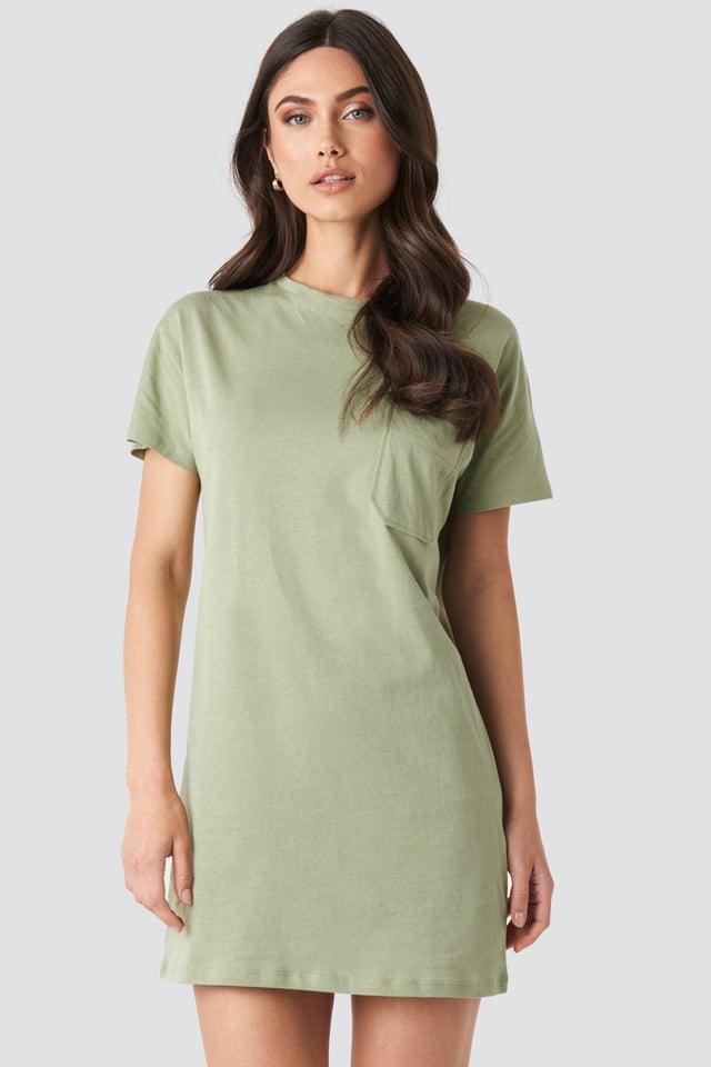 Chest Pocket T-shirt Dress Light Khaki