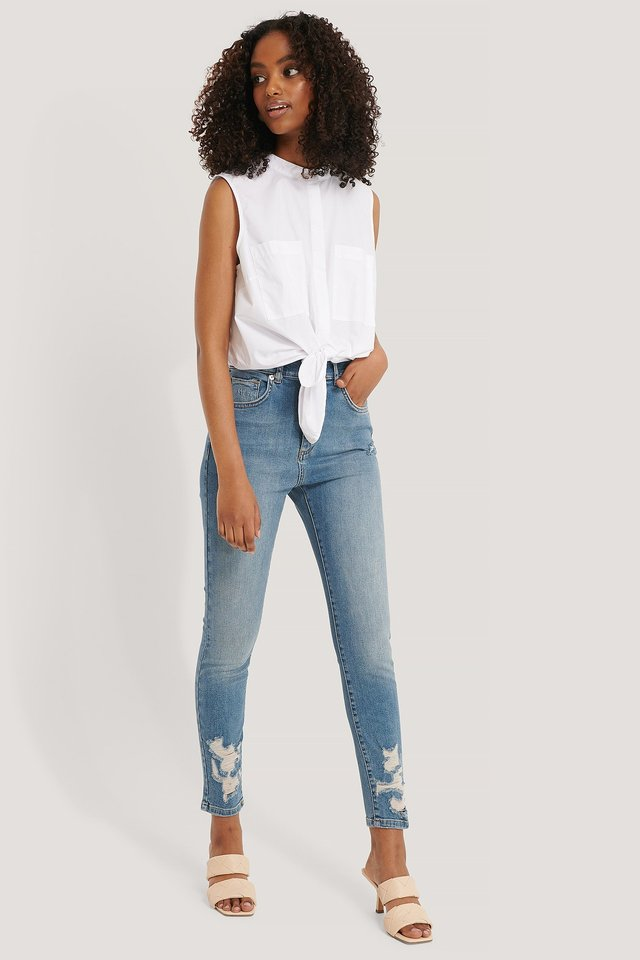 Mid Blue Chewed Hem Skinny Cropped Jeans