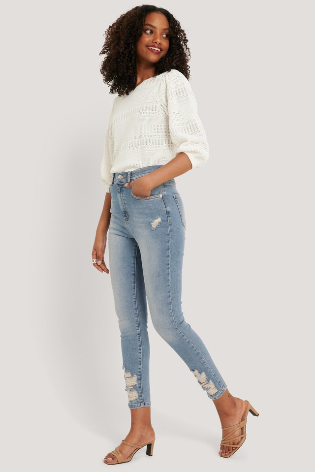 Chewed Hem Skinny Cropped Jeans Light Stone Wash
