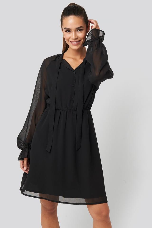 Chiffon buttoned Dress Black