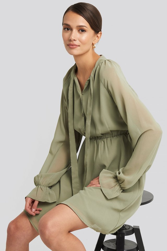 Chiffon buttoned Dress Khaki