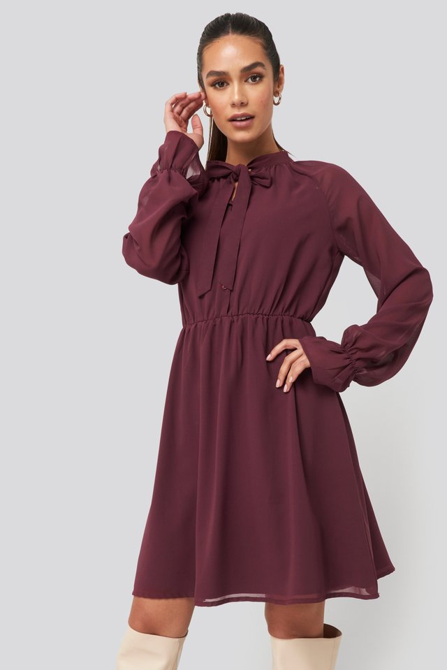 Chiffon buttoned Dress Burgundy