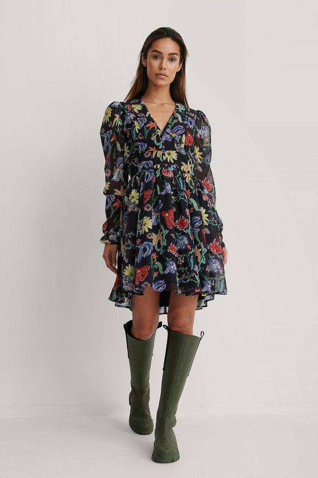 Chiffon Collar Dress Flower Print