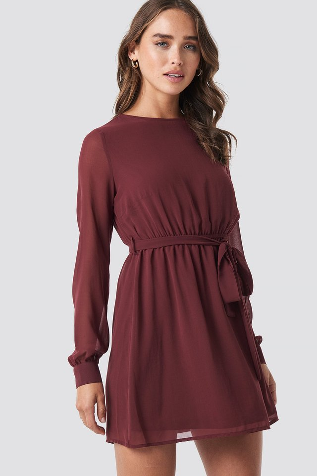 Chiffon Dress Dark Red