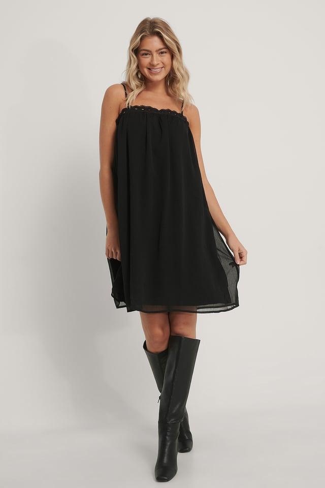Chiffon Embroidery Edge Dress Black