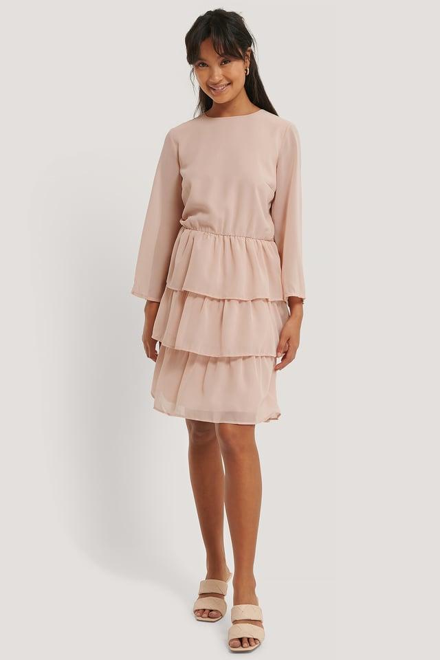Chiffon Flounce Mini Dress Dusty Pink