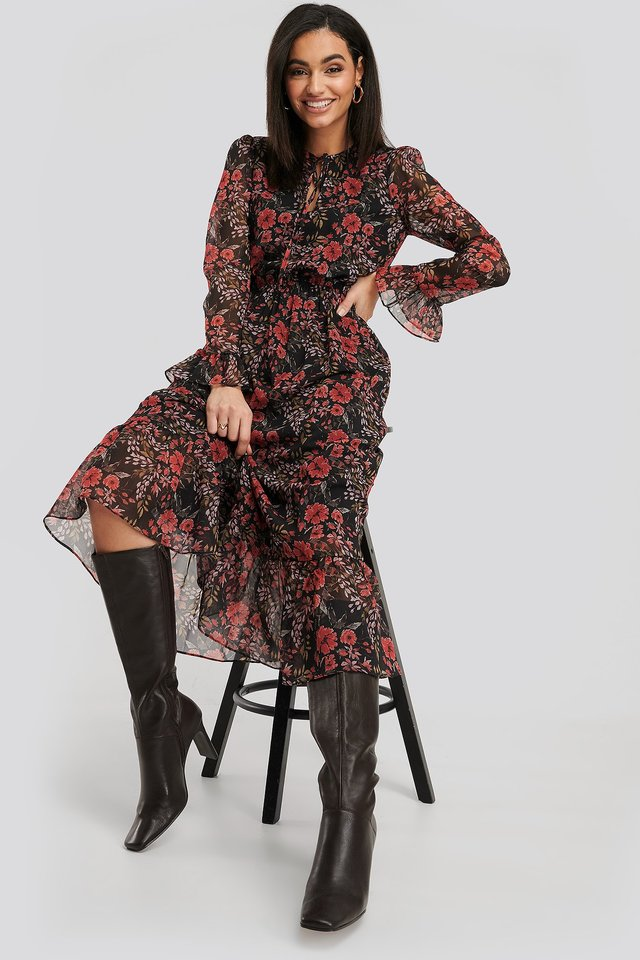 Chiffon Maxi Dress Printed