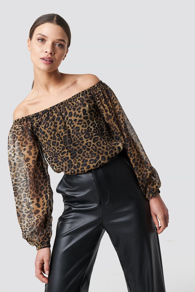 Chiffon Off Shoulder Blouse Leoprint
