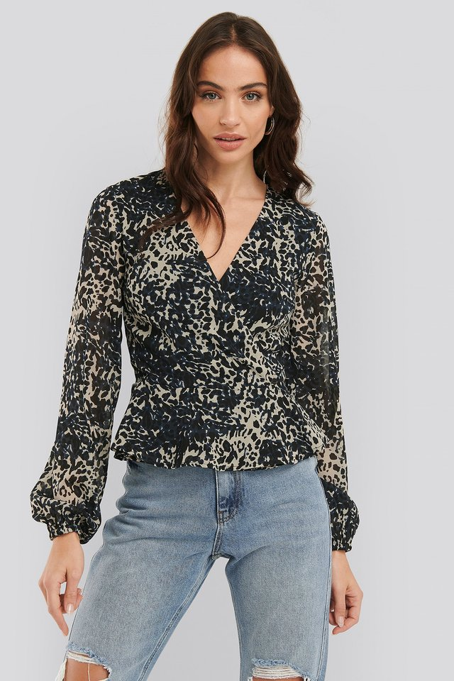 Chiffon Overlap Blouse Leopard
