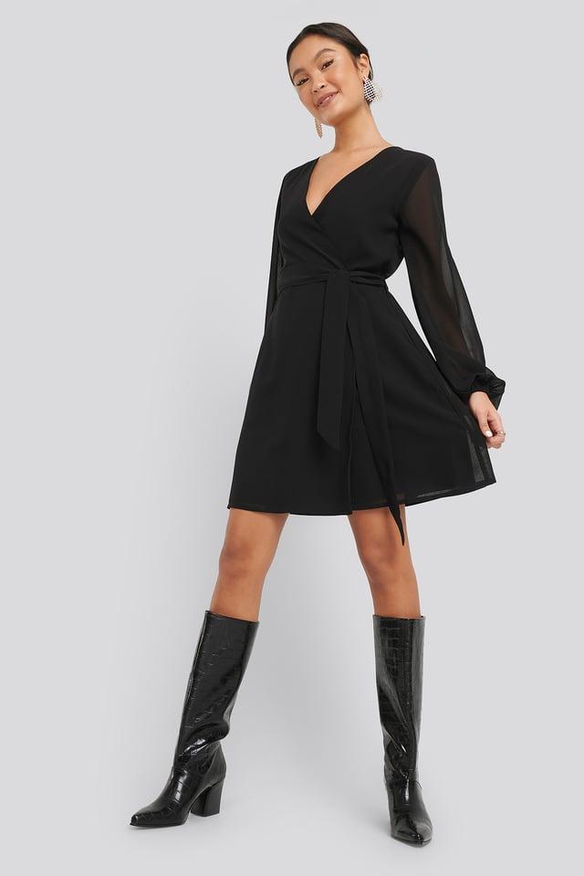 Chiffon Overlap Dress Black
