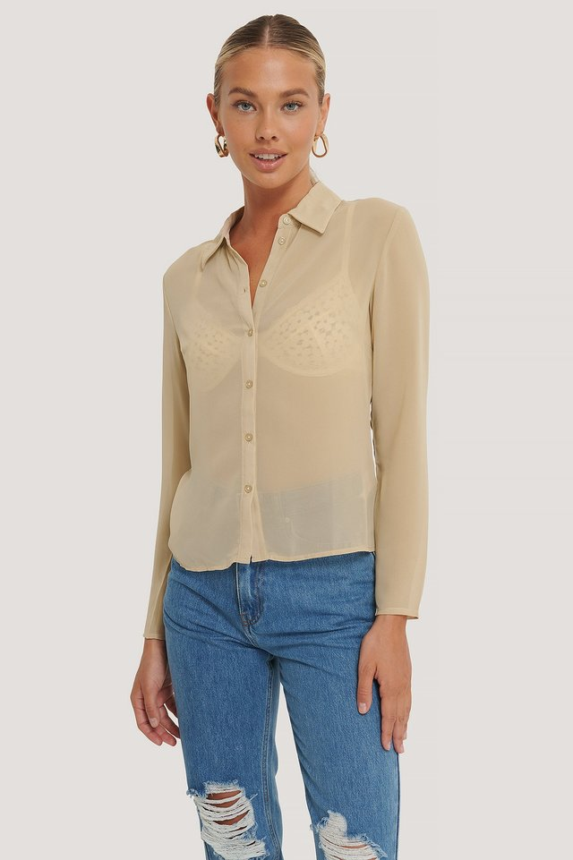Chiffon Shirt Beige