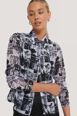 Pattern Print BW Chiffonskjorte