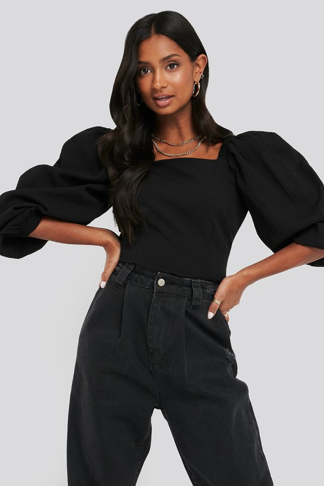 Cinched Waist Puff Sleeve Blouse Black