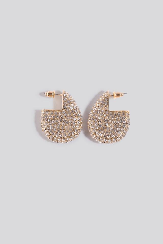 Chubby All Over Rhinestone Earrings Gold