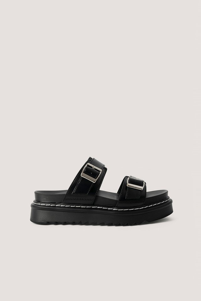Chunky Buckle Sandals Black