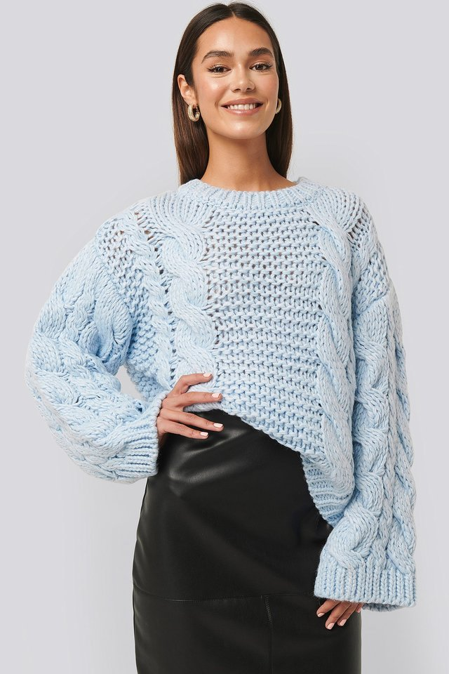Chunky Cable Knitted Sweater Light Blue