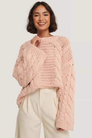 Light Pink Chunky Cable Knitted Sweater