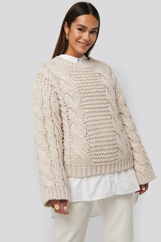 Offwhite Chunky Cable Knitted Sweater