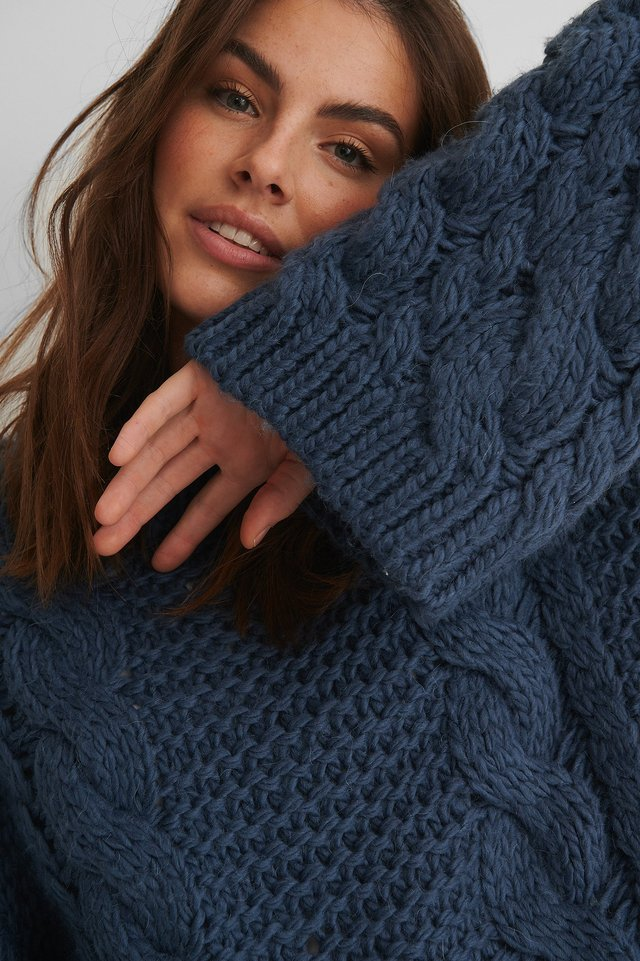Chunky Cable Knitted Sweater Stone Blue