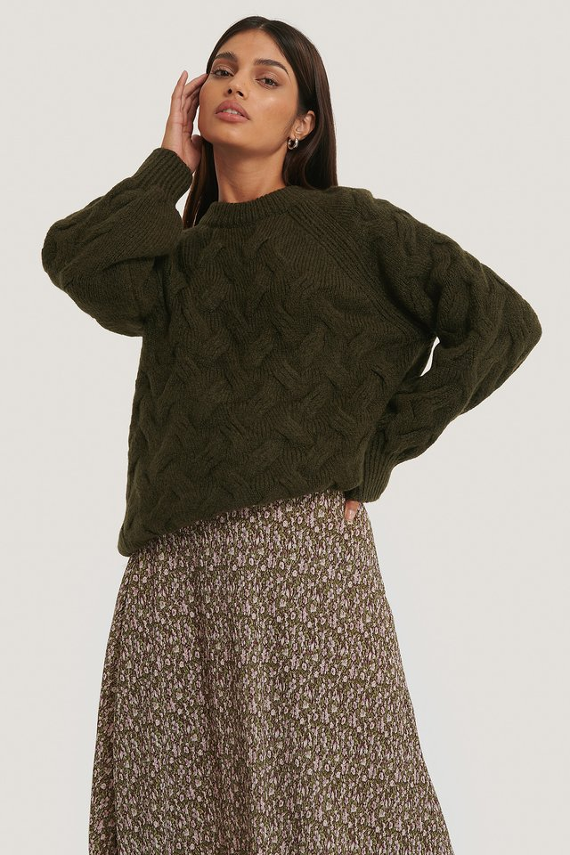 Dark Green Chunky Cable Knitted Sweater