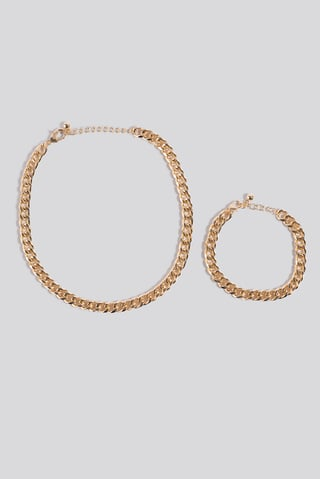 Gold Chunky Chain Necklace and Bracelet