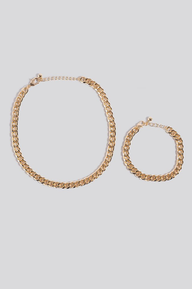 Chunky Chain Necklace and Bracelet Gold
