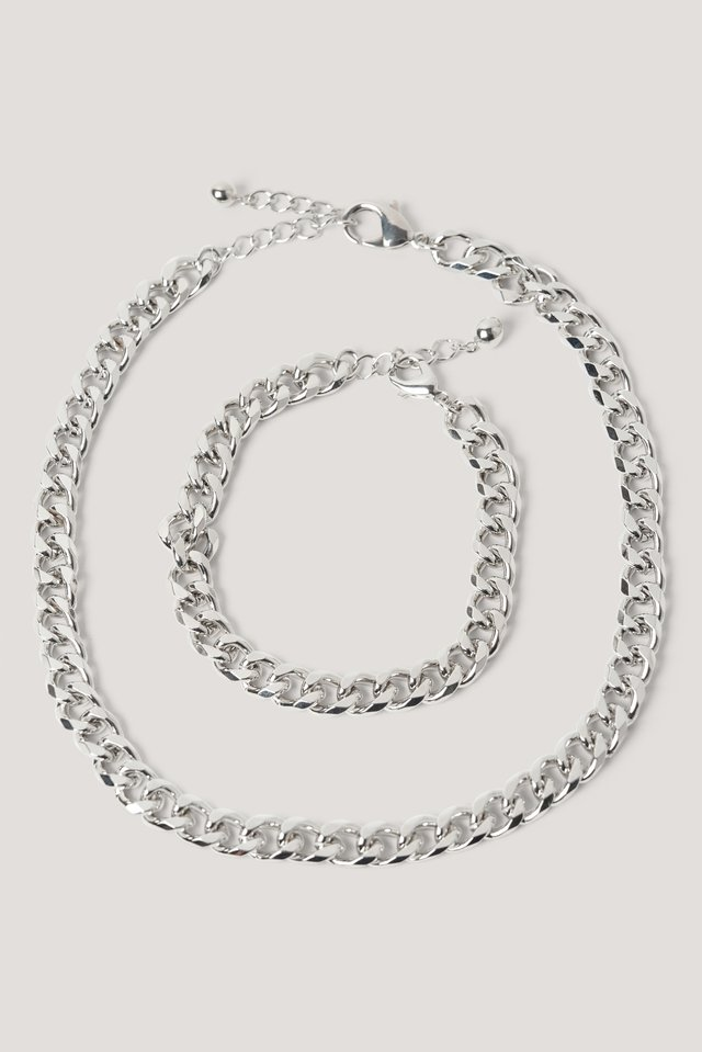Chunky Chain Necklace and Bracelet Silver