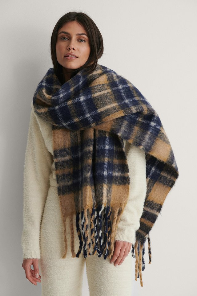 Beige Combo Chunky Checkered Scarf