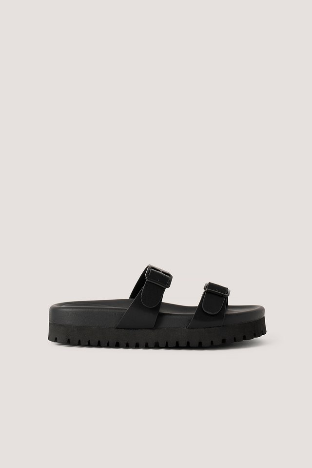 Black Chunky Double Buckle Sandals