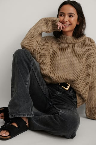 Brown Chunky Knit Round Neck Sweater