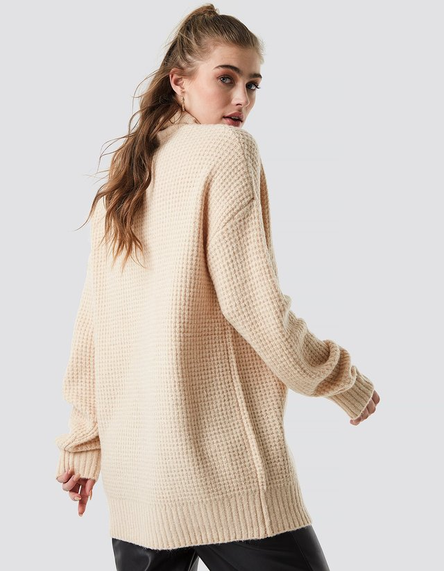 Chunky Oversized Polo Dress Beige
