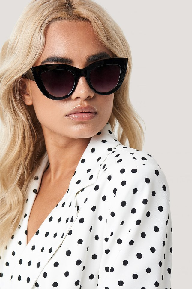 Chunky Pointy Cat Eye Sunglasses Black