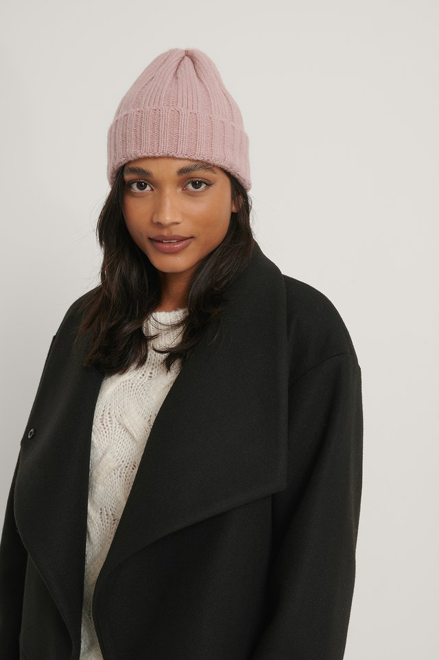 Dusty Pink Chunky Ribbed Beanie
