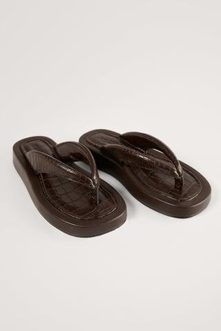 Dark Brown Klumpede Slippers