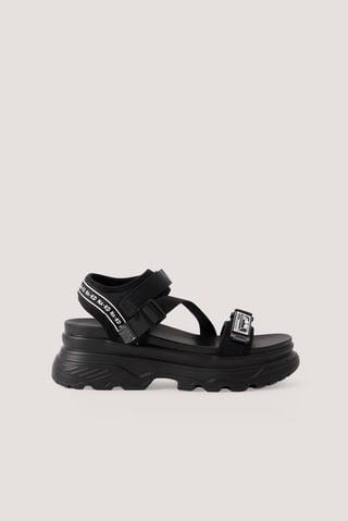 Black Chunky Velcro Sandals