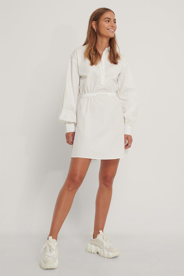 Cinched Shirt Dress Bone