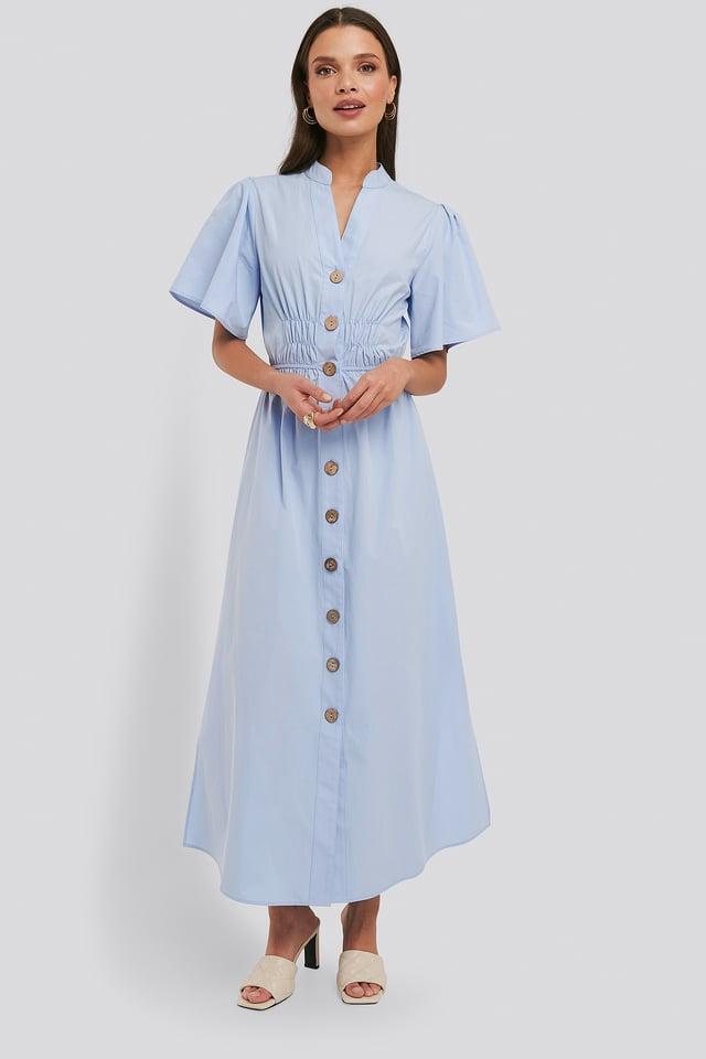 Cinched Waist Maxi Shirt Dress Blue