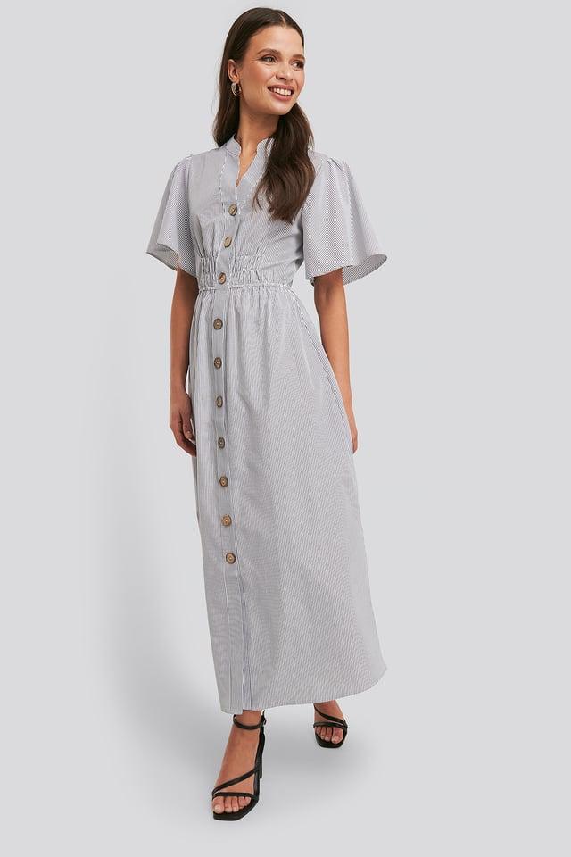 Black/White Stripe Cinched Waist Maxi Shirt Dress