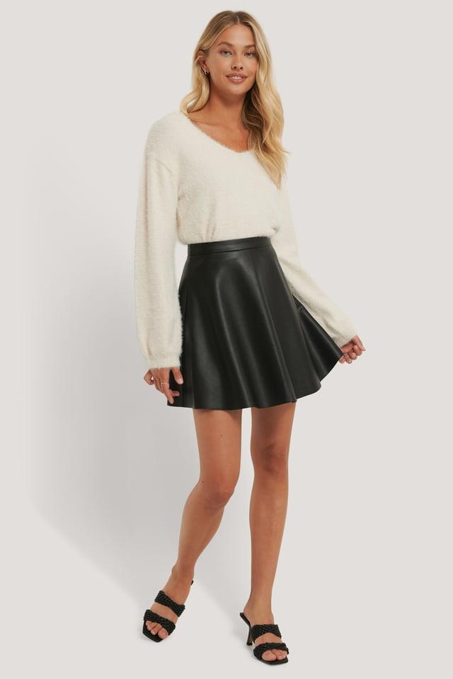 Circle PU Skirt Black