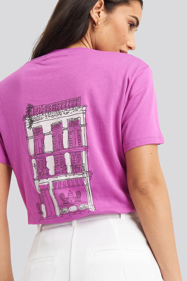 City Print Oversized Tee Dusty Pink