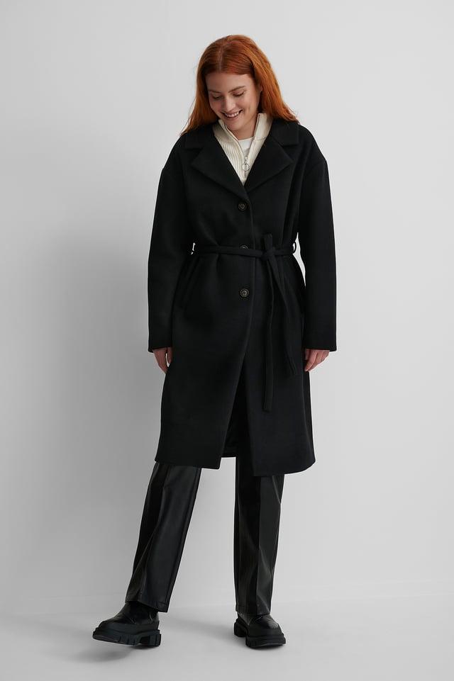 Black Classic Belted Coat